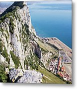Gibraltar Rock And Mediterranean Sea Metal Print