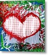 Gingham Crazy Heart Metal Print