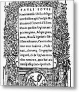 Giovio: Title Page, 1525 Metal Print