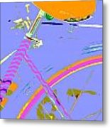 Girl Bicycle Pop Art Metal Print