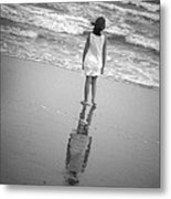 Girl By Ocean Metal Print