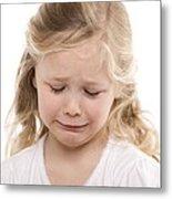 Girl Crying Metal Print