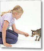Girl Feeding Kitten From A Spoon Metal Print