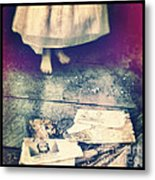 Girl In Abandoned Room Metal Print