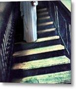 Girl In Nightgown On Steps Metal Print
