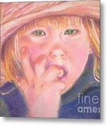 Girl In Straw Hat Metal Print by Julie Brugh Riffey