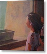 Girl In Window Metal Print