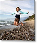 Girl Jumping At Lake Superior Shore Metal Print