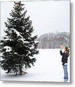 Girl Measuring Tree Height Metal Print