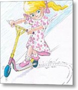 Girl On A Microscooter Cartoon Metal Print