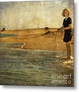 Girl On A Shore Metal Print