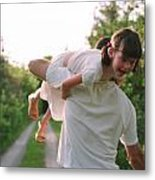 Girl On Fathers Shoulder Metal Print by Michelle Quance