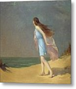 Girl On The Beach  Metal Print by Frank Richards