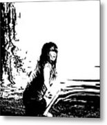 Girl On The Edge Of The Water Metal Print