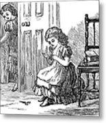 Girl Sewing, 1873 Metal Print