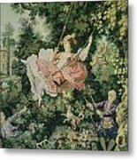 Girl Swinging Tapestry Metal Print by Unique Consignment