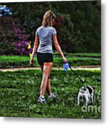 Girl Walking Dog Metal Print by Paul Ward