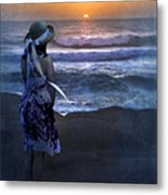 Girl Watching The Sun Go Down At The Ocean Metal Print