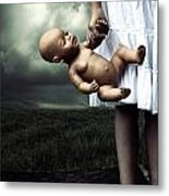 Girl With A Baby Doll Metal Print