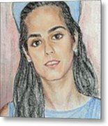 Girl With A Blue Cap Metal Print