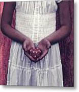Girl With A Heart Metal Print