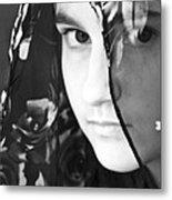 Girl With A Rose Veil 3 Bw Metal Print