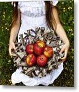 Girl With Apples Metal Print