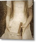 Girl With Books Metal Print