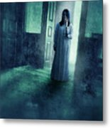 Girl With Candle In Doorway Metal Print