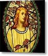 Girl With Cherry Blossoms Metal Print by Pg Reproductions