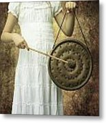 Girl With Gong Metal Print