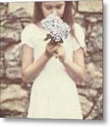 Girl With Hydrangea Metal Print