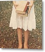 Girl With Old Books Metal Print