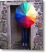 Girl With The Rainbow Umbrella At Mussendun Hall Metal Print