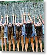 Girls And Long Hair Metal Print by Jenny Senra Pampin