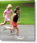 Girls Running Metal Print