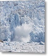 Glacial Ice Calving Into The Water Metal Print