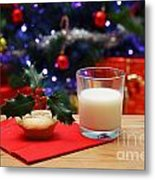 Glass Of Milk And A Mince Pie For Santa Metal Print