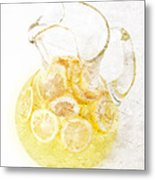 Glass Pitcher Of Lemonade Metal Print