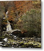 Glen Lyon Falls And Pack Bridge Scotland Metal Print