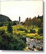 Glendalough Stream And Tower Metal Print