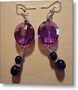 Glitter Me Purple Earrings Metal Print by Jenna Green