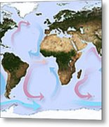 Global Ocean Currents Metal Print