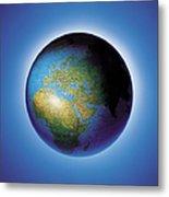 Globe On Blue Background Metal Print