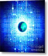 Globe With Technology Background Metal Print