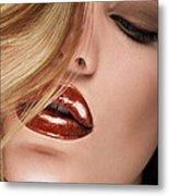Glossy Red Lips Metal Print
