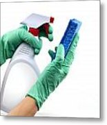 Gloved Hands With Sponge And Cleaning Spray Metal Print