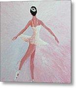 Glowing Ballerina Original Palette Knife  Metal Print