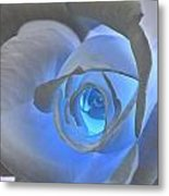 Glowing Blue Rose Metal Print