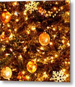 Glowing Golden Christmas Tree Metal Print